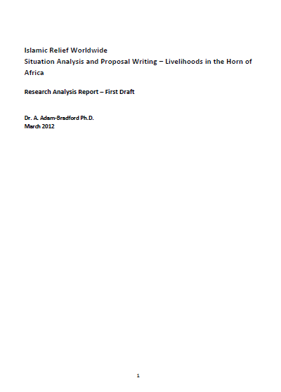 Situation Analysis and Proposal Writing Livelihoods Horn of Africa