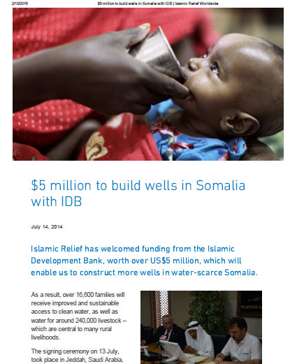 $5 million to build wells in Somalia with IDB