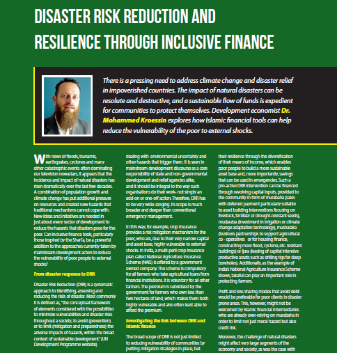 Disaster Risk Reduction and Resillience through Inclusive Finance
