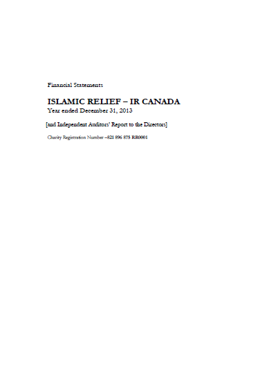 Financial Statements Islamic Relief-IR Canada 2013