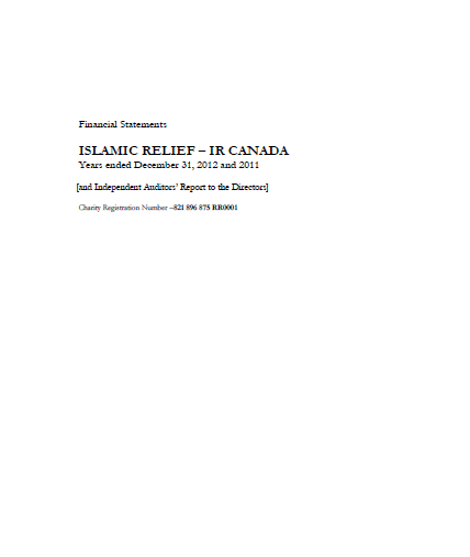 Financial Statements Islamic Relief-IR Canada Years ended December 31, 2012 and 2011