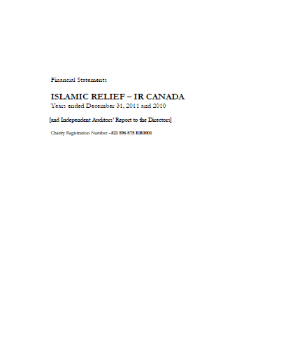 Financial Statements Islamic Relief-IR Canada Years ended December 31,2011 and 2010