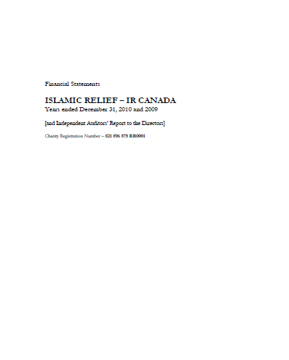 Financial Statements Islamic Relief=IR Canada Years ended December 31,2010 and 2009