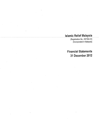 Islamic Relief Malaysia Financial Report 2012