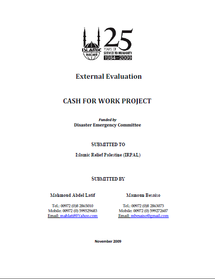 Cash for work projects
