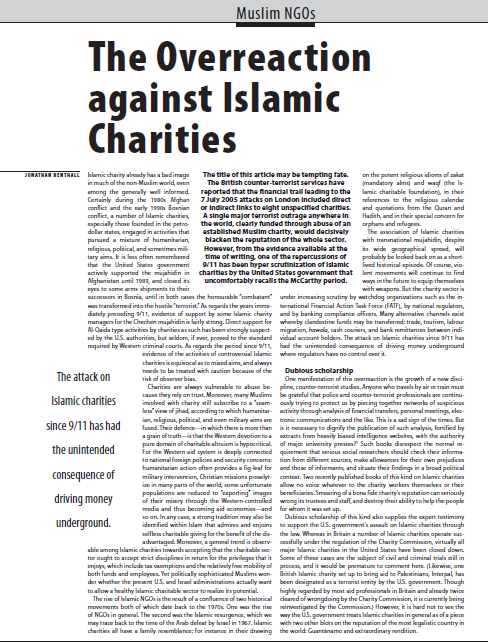 Overrection against muslim charities