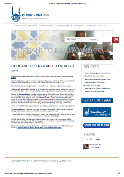 Qurbani to Kenya and to Muktar