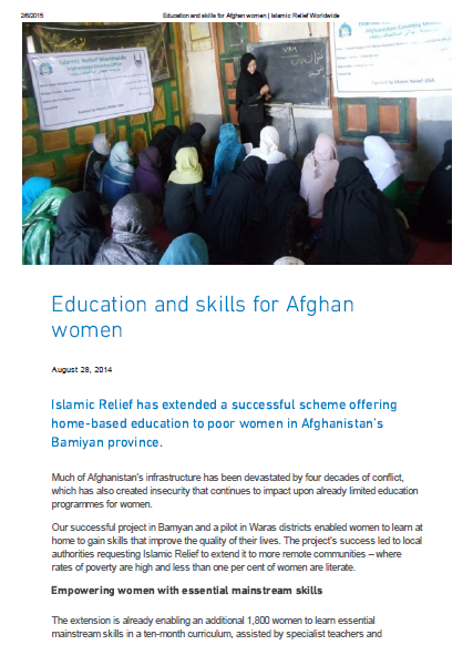 Education and skills for Afghan women