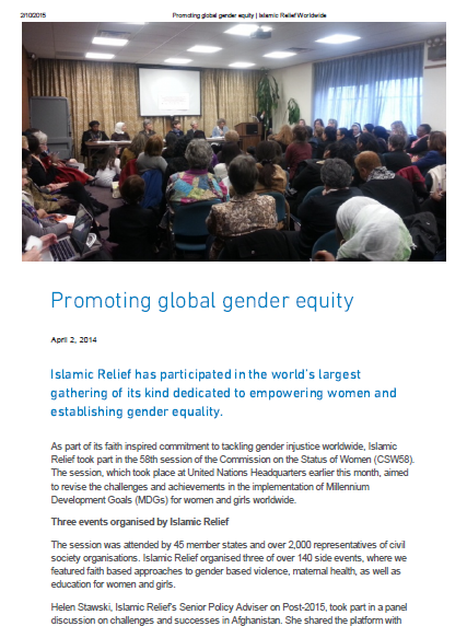 Promoting global gender equity