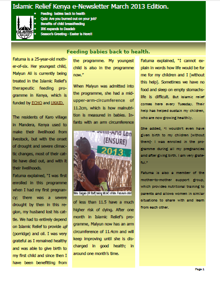 islamic relief kenya enewsletter march 2013