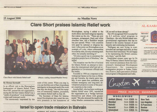 Clare Shot praises Islamic Relief